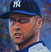 World Series Painting Framed Prints - Derek Jeter Framed Print by Shirl Theis