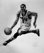 Bulls Drawings Prints - Derrick Rose Print by Adam Barone