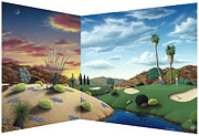Sunrise. Water Paintings - Desert Golf by Snake Jagger