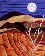 Sand Tapestries - Textiles - Desert Moonrise by Maureen Wartski