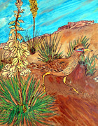 Lifestyle Pyrography Framed Prints - Desert Roadrunner Framed Print by Mike Holder