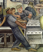 Murals Prints - Detroit Industry   north wall Print by Diego Rivera