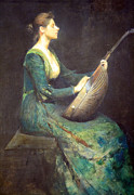Lute Prints - Dewings Lady With A Lute Print by Cora Wandel