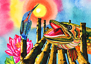 Kingfisher Mixed Media - Dialog at sunset by Irina Chernysheva