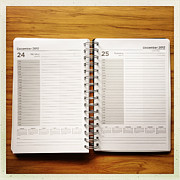 Desk Photo Prints - Diary Print by Les Cunliffe