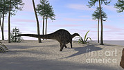 Three Dimensional Posters - Dicraeosaurus Walking In A Tropical Poster by Kostyantyn Ivanyshen