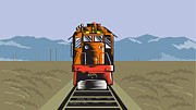 Diesel Prints - Diesel Train Front Rear Woodcut Retro Print by Aloysius Patrimonio