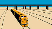 Diesel Framed Prints - Diesel Train High Angle Retro Framed Print by Aloysius Patrimonio