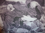 Eagles Drawings - Dinner for Two  by Christine  Blodgett