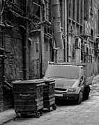 Grime Photo Framed Prints - Dirty Back Streets Mono Framed Print by Antony McAulay
