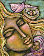 Christ Child Mixed Media Posters - Divine Mother Poster by Maya Telford
