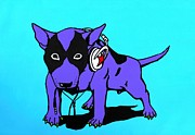 English Bull Terrier Paintings - DJ Dog by Anthony  Moman