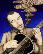 Gypsy Drawings Prints - Django Reinhardt Print by Logan Cole