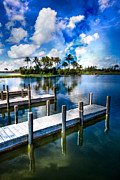 Spring Scenes Posters - Dock on the Bay Poster by Debra and Dave Vanderlaan