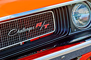 Muscle Car Framed Prints - Dodge Challenger RT Grille Emblem Framed Print by Jill Reger