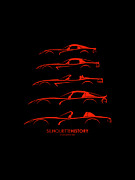 Dodge Digital Art Prints - Dodge Viper SilhouetteHistory Print by Gabor Vida