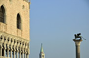 Tourist Destinations Prints - Doges Palace and Column of San Marco Print by Sami Sarkis