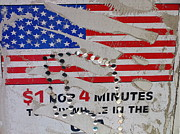 Shredded Prints - 1 dollar for four minutes sign telephone American flag Eloy Arizona 2005 Print by David Lee Guss
