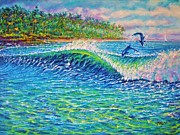 Playing Painting Originals - Dolphin Play by Joseph   Ruff