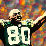 Packers Posters - Donald Driver Green Bay Packers Poster by Jack Zulli