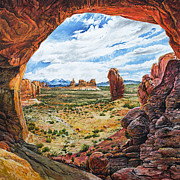 Moab Painting Prints - Double Arch Print by Aaron Spong