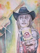 Rock Portraits Mixed Media Originals - Doug Sahm at the Armadillo by Lynn Maverick Denzer