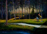 Caddy Painting Prints - Down Hill Print by William Gabel