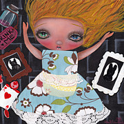 Pop Surrealism Painting Posters - Down the Rabbit Hole Poster by  Abril Andrade Griffith