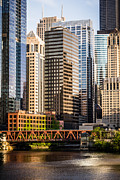 Downtown Prints - Downtown Chicago Buildings at Lake Street Bridge Print by Paul Velgos