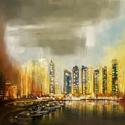 Dubai Framed Prints - Downtown Dubai Skyline Framed Print by Corporate Art Task Force