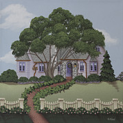 Folk Art Paintings - Dragonfly Cottage by Catherine Holman