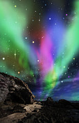 Outdoor Mixed Media Posters - Dramatic Aurora Poster by Atiketta Sangasaeng