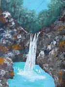 Aerial Perspective Paintings - Dream Falls by Krista May