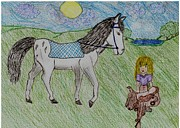 Blanket Drawings Prints - Dream Horse Print by Shaunna Juuti