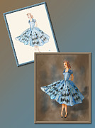 Fashion Design Drawings Framed Prints - Dress Design 1  Framed Print by Judi Quelland
