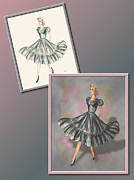 Fashion Design Drawings Framed Prints - Dress Design 3 Framed Print by Judi Quelland