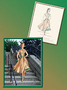 Fashion Design Drawings Framed Prints - Dress Design 48  Framed Print by Judi Quelland
