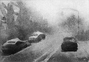 Rain Drawings Originals - Driving by Steve Dininno