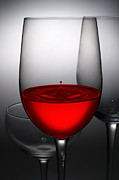 Glass Photo Posters - Drops Of Wine In Wine Glasses Poster by Setsiri Silapasuwanchai