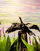 Anhinga Paintings - Drying Feathers by Christy Usilton