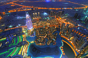 Areal Prints - Dubai at Night Print by Lars Ruecker