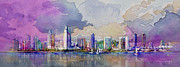 Watercolor Painting Originals - Dubai Skyline by Corporate Art Task Force