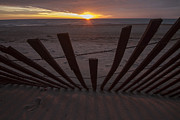 Sand Dunes Prints - Dunes Fence At Sunrise Print by Sven Brogren