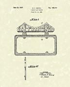 License Plate Drawings - Duryea License Holder 1937 Patent Art by Prior Art Design