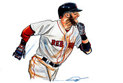 Mlb Drawings Prints - Dustin Pedroia Print by Dave Olsen