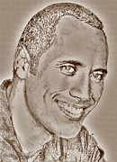 Fame Mixed Media Prints - Dwayne Johnson in 2007 Print by J McCombie