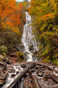 Rivers In The Fall Posters - Early Autumn Mingo Falls Poster by Deborah Scannell