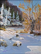 Snow Covered Pine Trees Paintings - Early Snow by Bev Finger