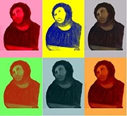 News Mixed Media Metal Prints - Ecce Homo - Warhol Style Metal Print by Sam Mart