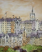 Flags Paintings - Edinburgh Scotland by Hazel Millington